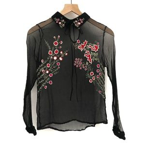 Topshop Black Embroidered Top - No Size Tag